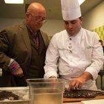 Bizarre Foods America's Andrew Zimmern with Johnson & Wales University Chef Instructor T.J. Delle Donne