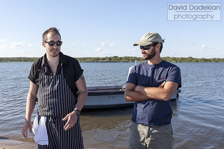 Chef/owner Derek Wagner of Nick's on Broadway with farmer/owner Jules Opton-Himmel of Walrus and Carpenter Oysters