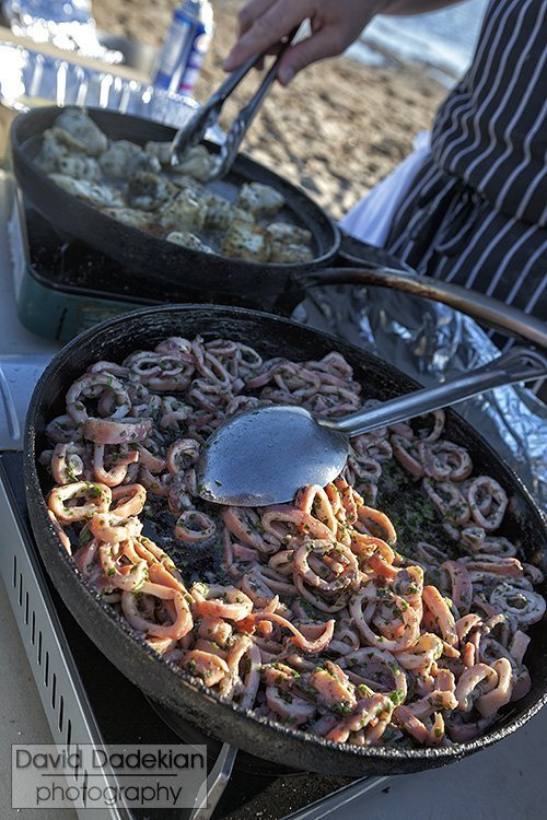 Calamari  and fish cooking