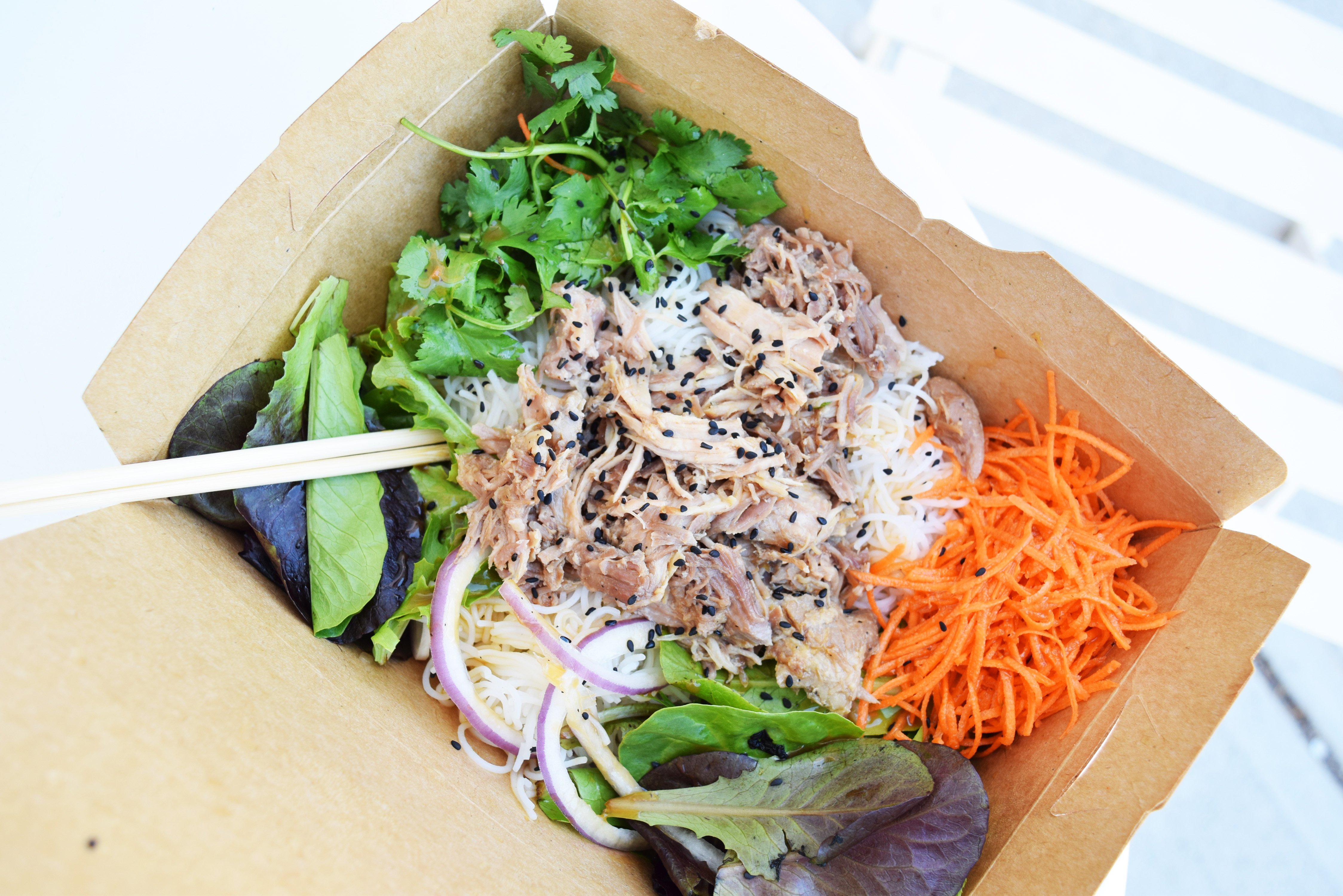 Miso-Braised Pulled Pork Rice Noodle Salad