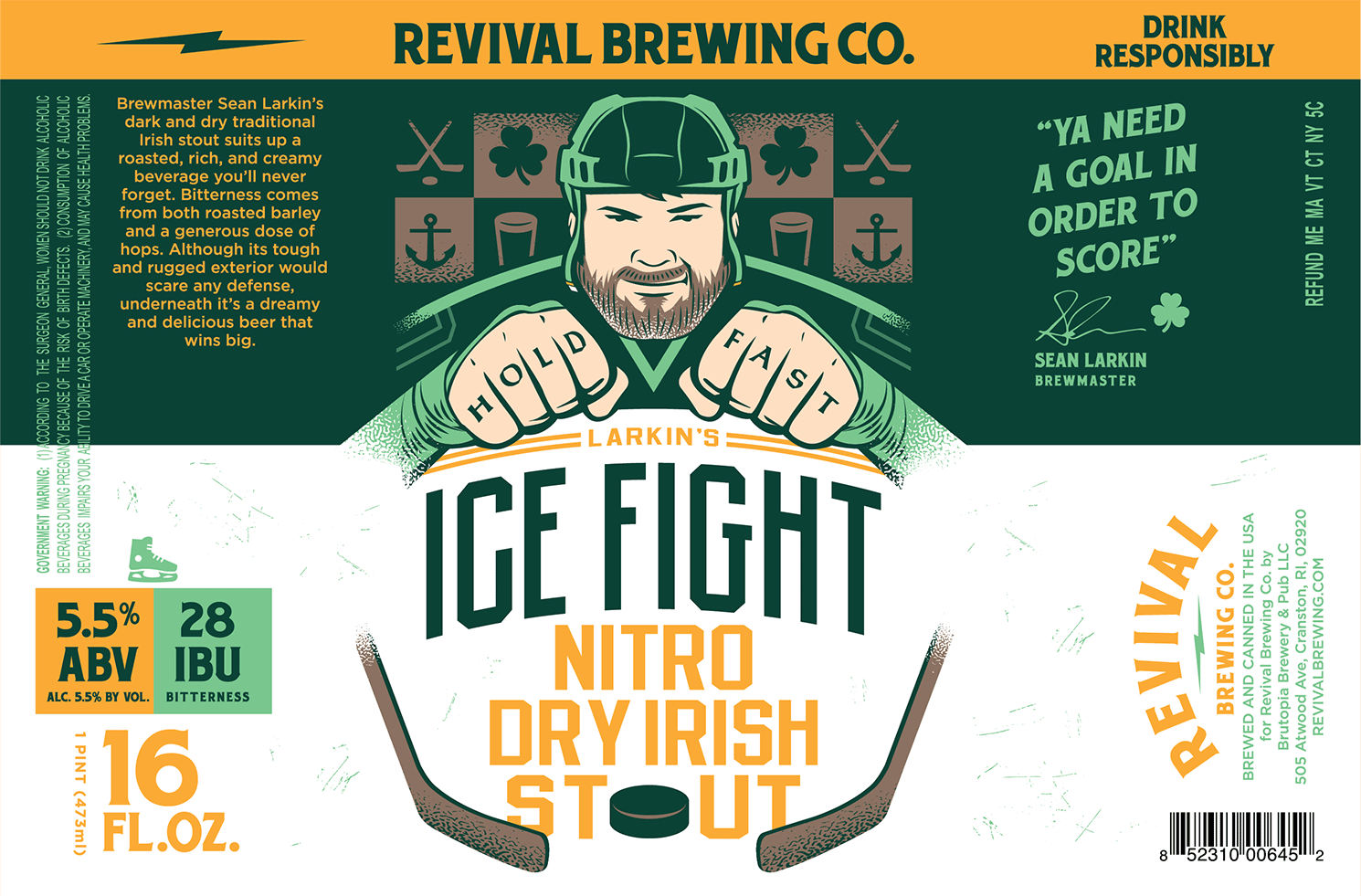 Revival Brewing Company Larkin's Ice Fight Nitro Dry Irish Stout