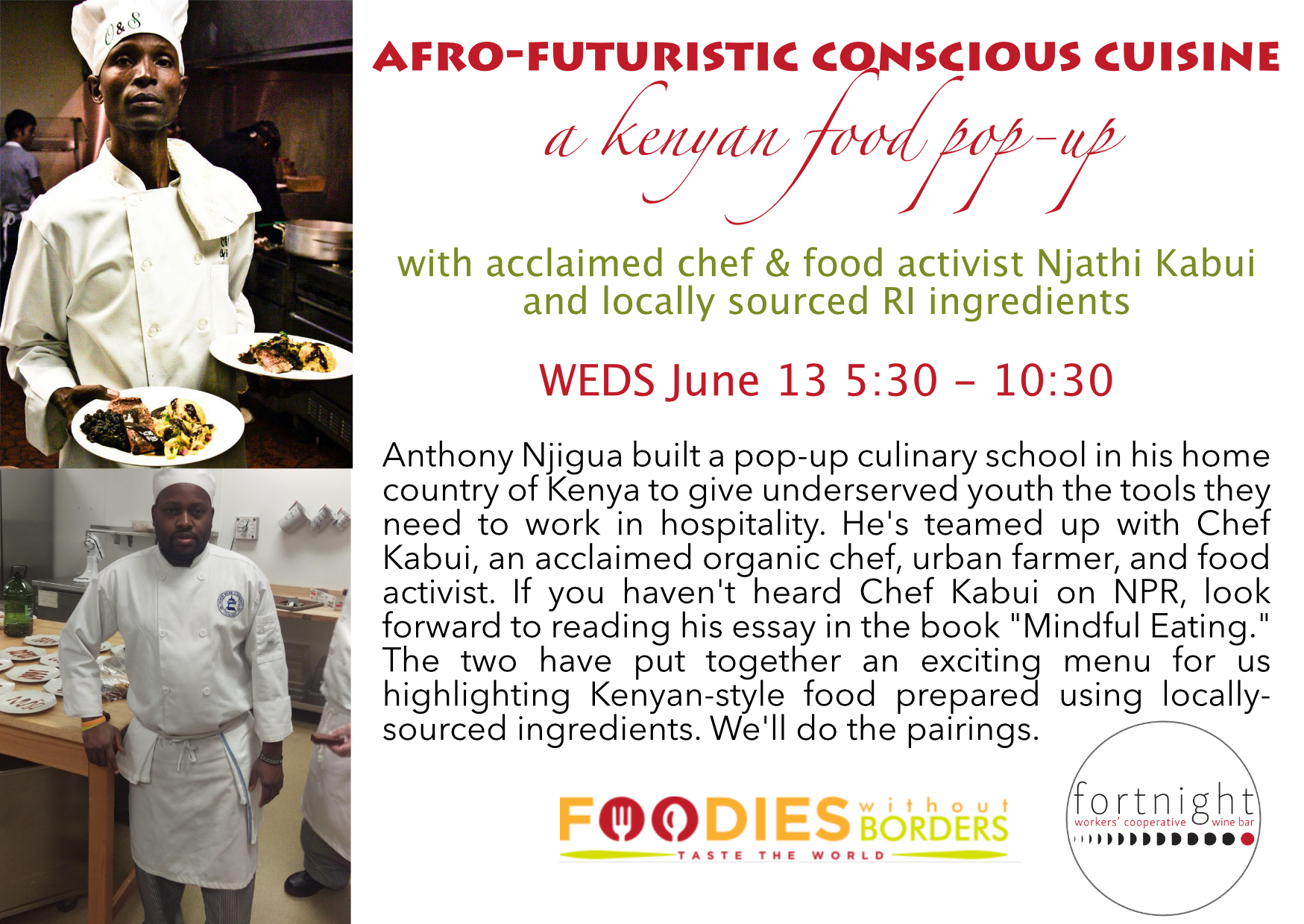 fortnight wine bar Kenyan Food Pop-Up