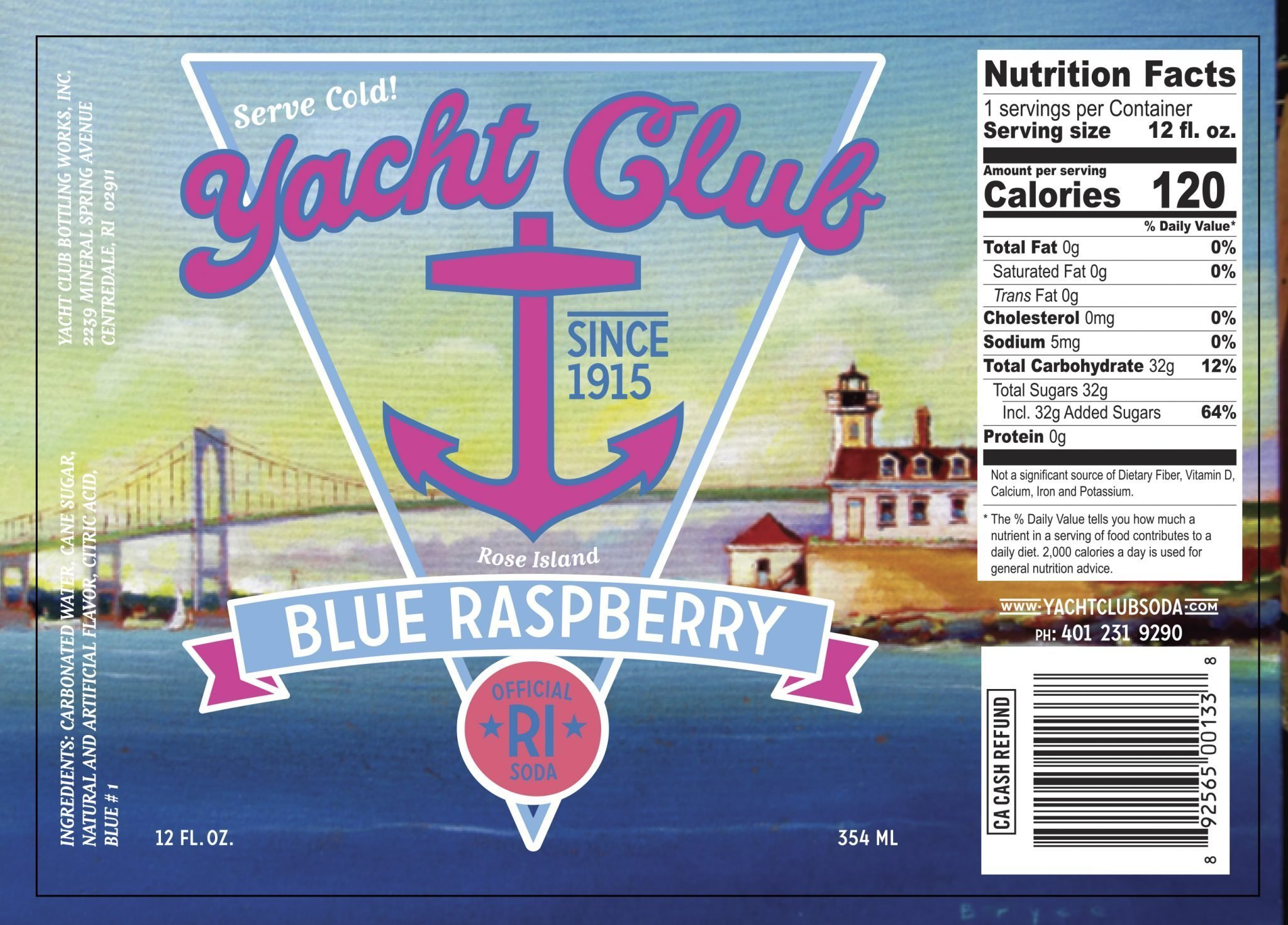 Yacht Club Blue Raspberry label