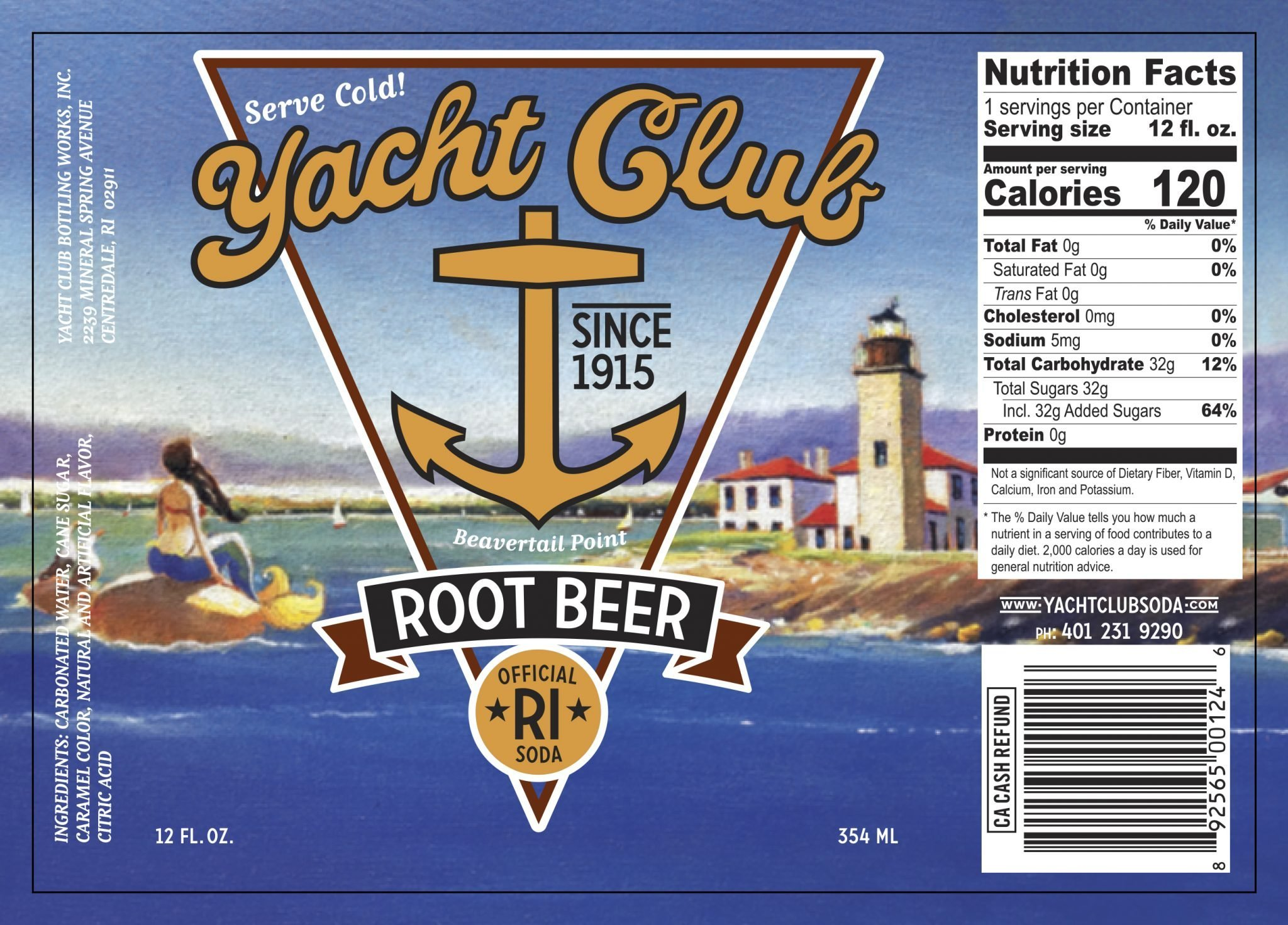 Yacht Club Root Beer label
