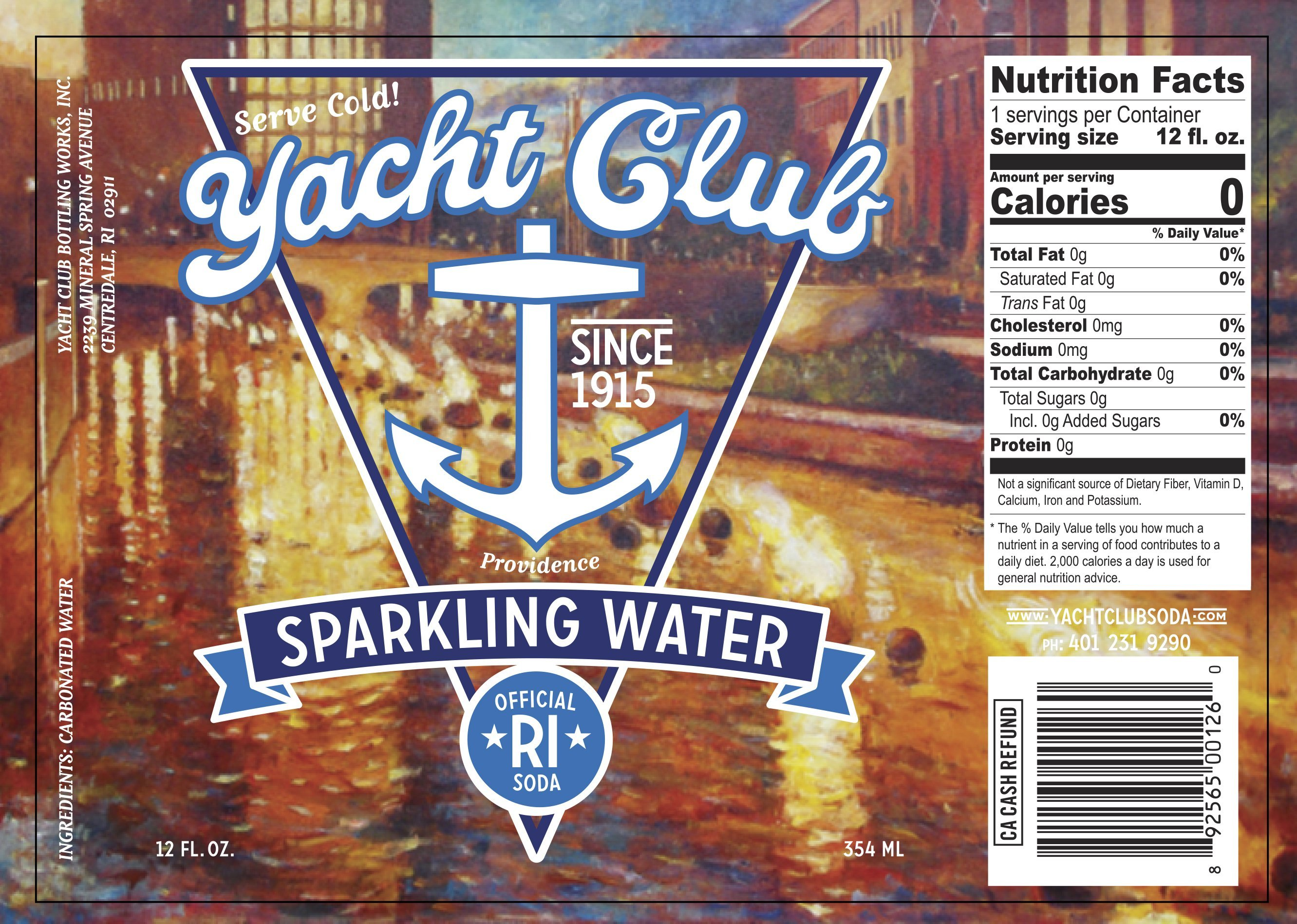 Yacht Club Sparkling Water label