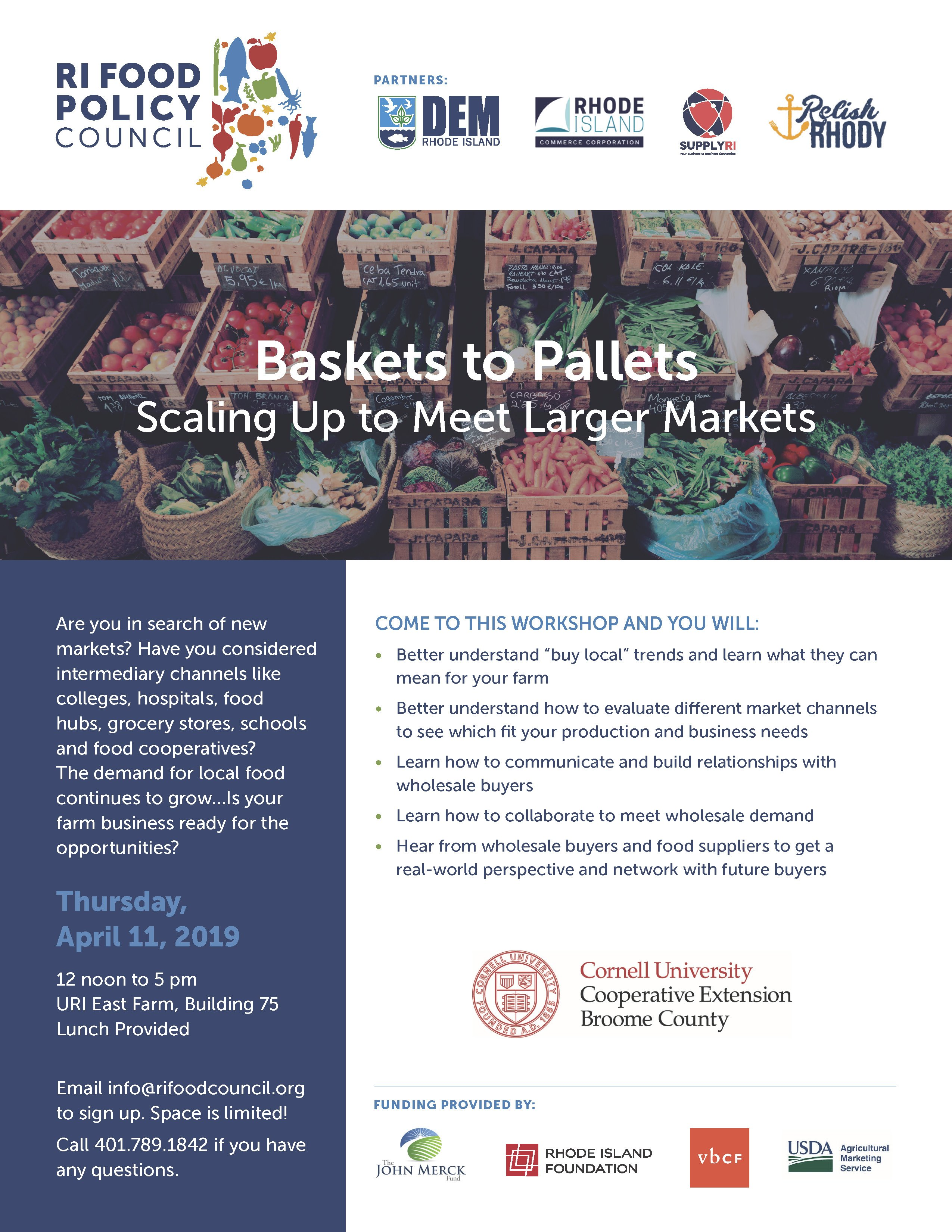 Rhode Island Food Policy Council Baskets to Pallets Wholesale Readiness Workshop